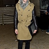 Brad Goreski spotted at the Lincoln center wearing a cool Burberry trench and studded clutch — amazing!