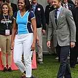 To punch up her athletic vibe with a little femininity, Michelle donned silver metallic sneakers as a fun accent.