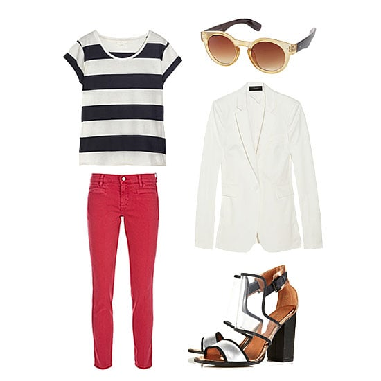For the coolest kind of work ensemble, dip into Summer's Americana palette with a striped tee on top, red jeans on the bottom, and a white blazer for the chic edge you need to carry this look off at the office. Add in on-trend shades and a dose of walkable statement footwear and you've nailed an effortlessly au courant style. Get the look:  MIH Paris Cropped Mid-Rise Skinny Jeans ($185) Chinti and Parker Striped Organic Cotton T-Shirt ($120) Topshop Round Plastic Sunglasses ($32) Joseph Sir Stretch Cotton-Blend Blazer ($417, originally $595) Topshop Raver Perspex Mix Sandals ($110)
