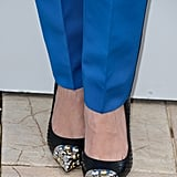 Bérénice Bejo wore silver-and-jewel-capped pumps.