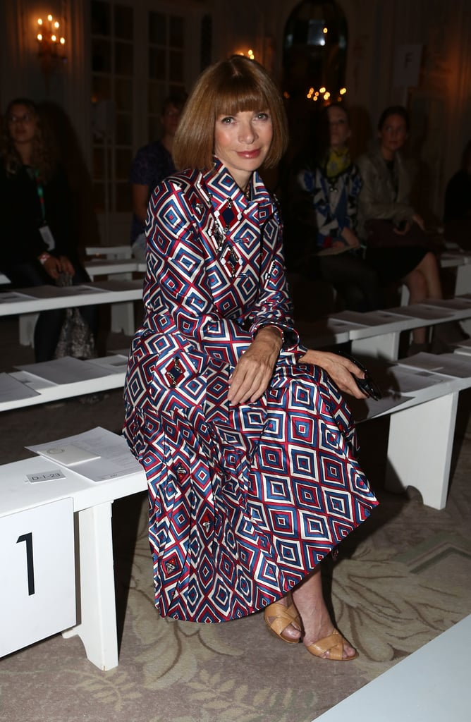 Anna Wintour took front row at Roksanda Ilincic in a geometric-print coatdress.