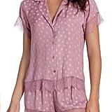 Midnight Bakery Lace-Trim Dot Satin Short Pajamas