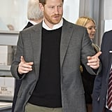 The prince wore a black sweater when he visited the Silverstone University technical College in March 2018.