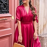 Gal Meets Glam Collection Debbie Butter Satin Fit & Flare Dress
