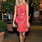 Sienna Miller in a pink dress at All Saints event in England.