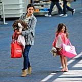 Katie Holmes and Suri Cruise walked to their flight together.