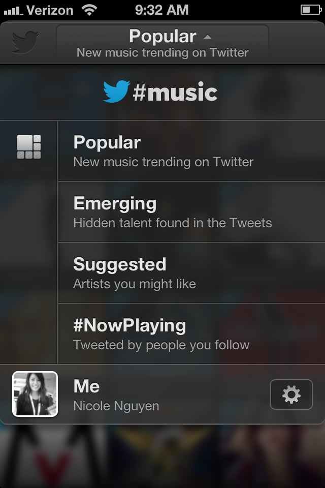Tracks from trending artists can be listened to right from the mobile or web app — but only after you sign into Spotify or Rdio. By default, previews of songs will be pulled from iTunes. Twitter #music is an extra layer between music streaming services and listeners that helps them discover artists that are popular across the Twitter network, or just among the people they follow.
