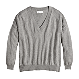 V-Neck Boyfriend Sweater in Heather Gray