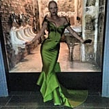 Wowza! Uma Thurman flaunted her curves in a bright green Zac Posen gown. Source: Instagram user zac_posen