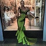 Wowza! Uma Thurman flaunted her curves in a bright green Zac Posen gown. Source: Instagram user zac_posen