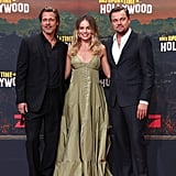 Brad Pitt, Margot Robbie, and Leonardo DiCaprio at the Berlin premiere of Once Upon a Time in Hollywood.