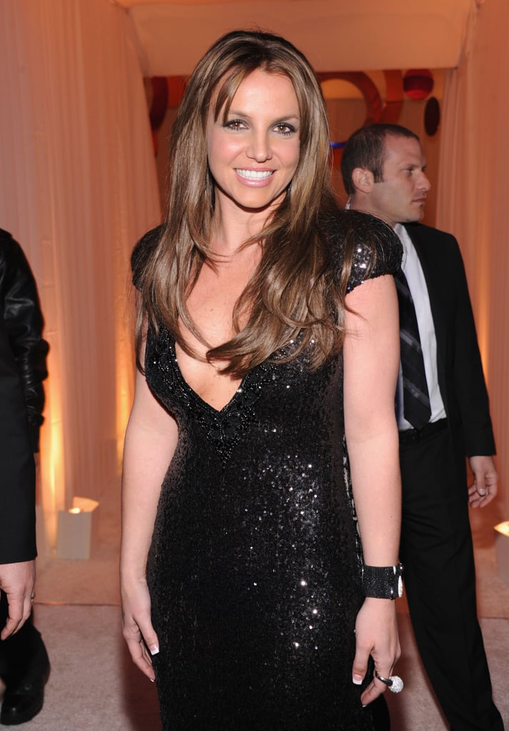 Britney Spears showed off her new brown hair.