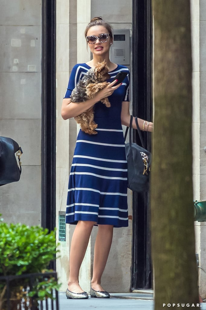 Miranda Kerr stepped out in NYC with Frankie.