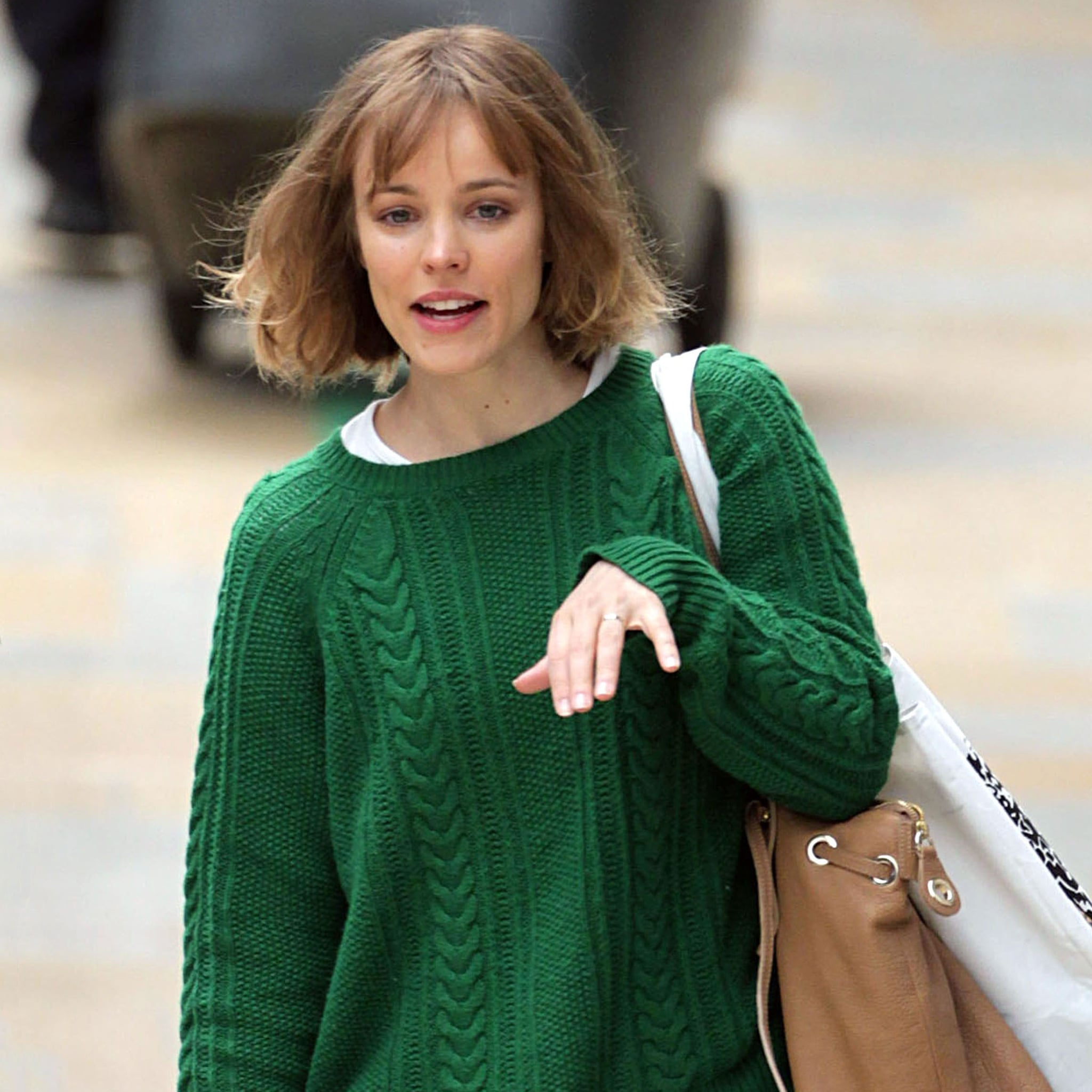 Rachel McAdams Wearing Green Sweater Pictures | POPSUGAR Celebrity