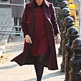 Meghan Markle Fall Outfit Idea: A Burgundy Dress and Matching Coat