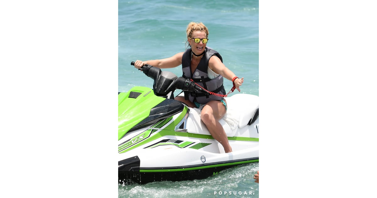 britney spears jet skiing in miami pictures june 2018 popsugar
