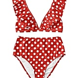 SweatyRocks Women's Bathing Suits V Neck Polka Dot Ruffled Bikini