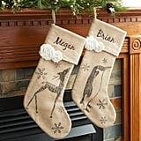 Personalized Vintage Linen Snowflake Christmas Stocking