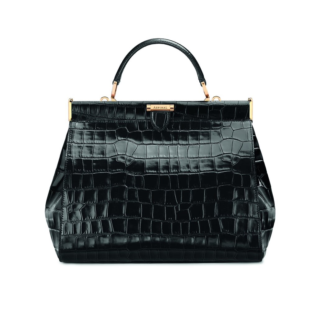 The Dockery Small in Black Deep Shine Croc ($1,395)