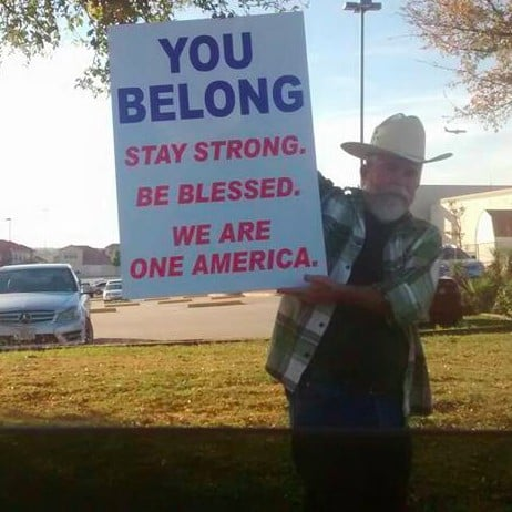 Texas Man Holds Nice Sign Outside of Mosque