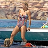 Bar Refaeli changed into a printed one-piece.