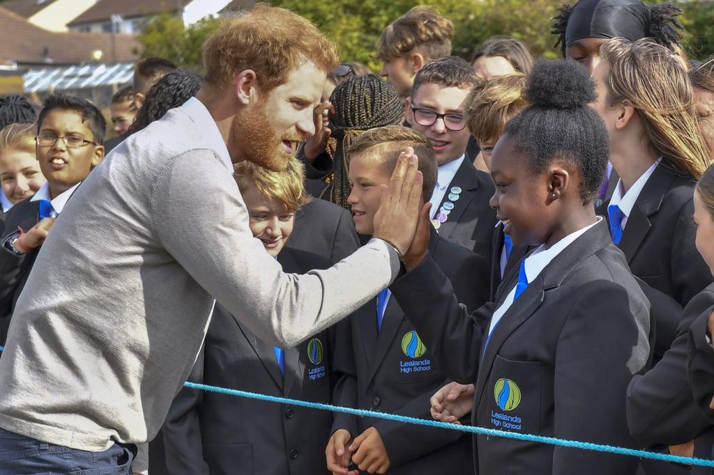 When He Gave Out a High Five While Visiting a School in England
