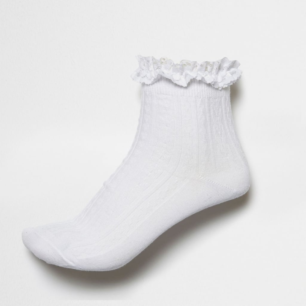 2d013aaef391c River Island Womens White Frilly Ankle Socks