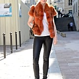 A furry vest transformed leather skinnies and Isabel Marant sneakers with added luxe.