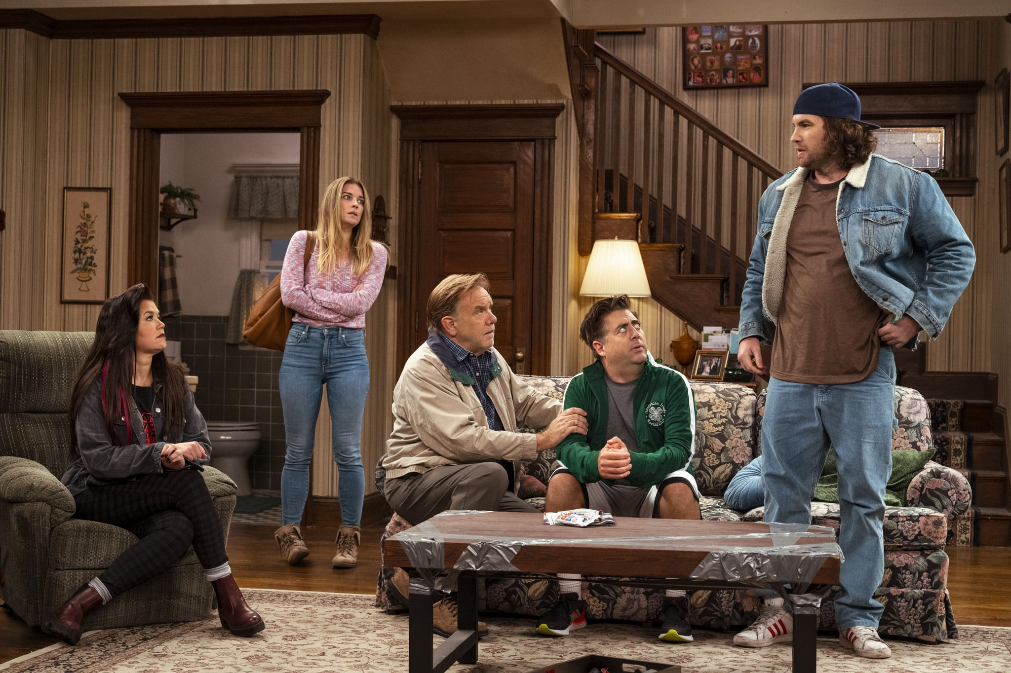 Mary Hollis Inboden as Patty, Annie Murphy as Allison, Eric Petersen as Kevin, Brian Howe as Pete, Alex Bonifer as Neil - Kevin Can F*** Himself _ Season 1, Episode 2 - Photo Credit: Jojo Whilden/AMC