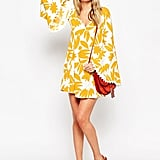 ASOS '70s Dress with Fluted Sleeve in Retro Print