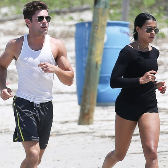 Zac Efron and Sami Miro Run on the Beach May 2015