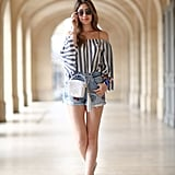 Style an Off-the-Shoulder Top With Shorts and a Crossbody Bag
