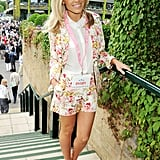 Also at Wimbledon, UK pop star Mollie King looked every bit the blooming beauty in a floral shorts suit and nude pumps.