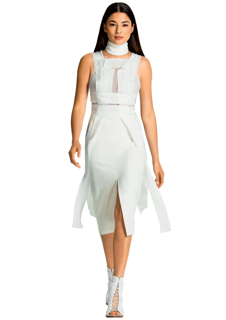Dress, $650, leather collar, $195 and boots, $595, Willow at David Jones