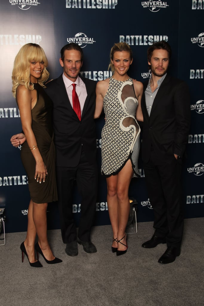Rihanna, Peter Berg, Brooklyn Decker, and Taylor Kitsch at a photocall for Battleship in London.