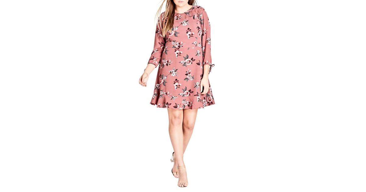 City Chic Burgundy Floral Dress