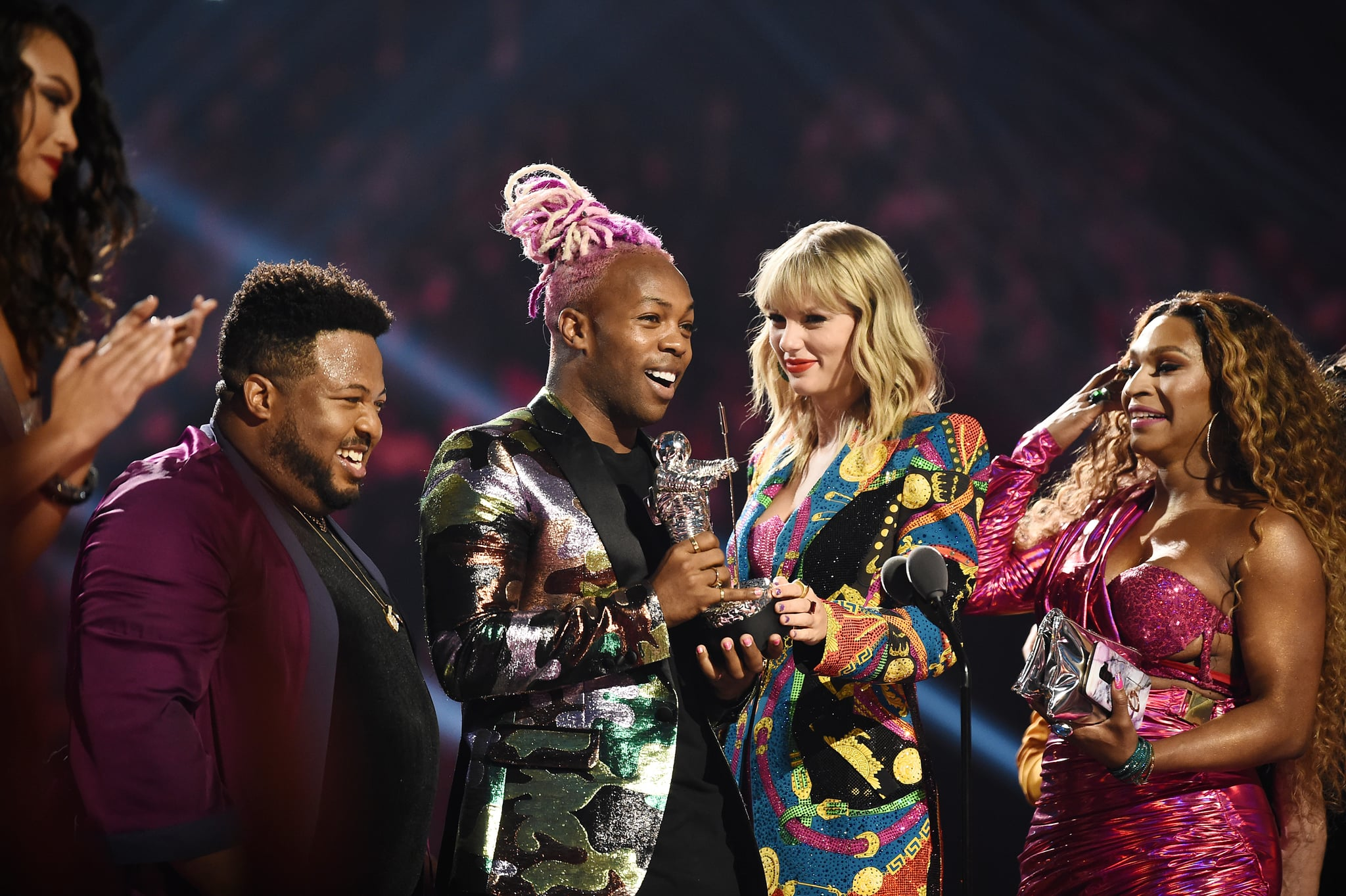NEWARK, NEW JERSEY - AUGUST 26: Todrick Hall and Taylor Swift receive 'Video For Good' award for onstage during the 2019 MTV Video Music Awards at Prudential Center on August 26, 2019 in Newark, New Jersey. (Photo by Dimitrios Kambouris/VMN19/Getty Images for MTV)