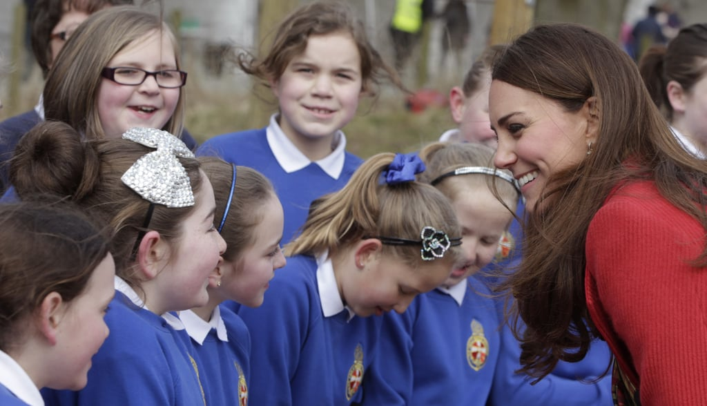 She laughed with a group of schoolchildren at the Dumfries House in Scotland in March 2016.