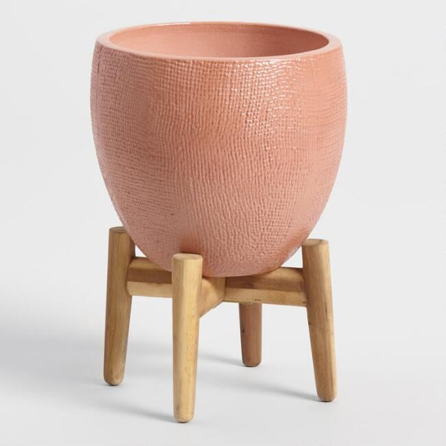 Burnt Coral Ceramic Planter With Wood Stand