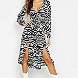 Wrap Front Double Split Zebra Skater Dress ($27, originally $45)