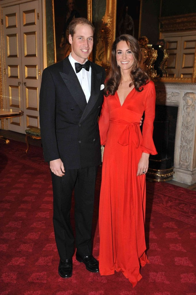 Veering away from her go-to navy blues, Kate chose a bright red Beulah dress for a United Nations reception gala.