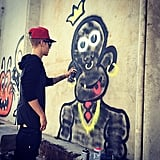 Source: Instagram user justinbieber   Nov. 8, 2013 Brazil just wasn't a good time for Justin. The singer was charged with vandalism in Rio after he was caught painting graffiti on a wall. Justin didn't face any jail time for the graffiti, instead offering to pay a fine for an unreported sum.