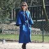 Jessica Alba wore a long, bright-blue coat in Paris on Sunday.