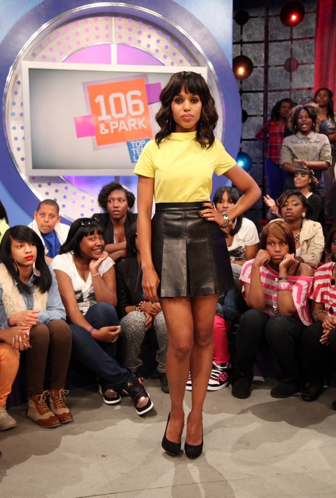 Kerry Washington gave her Jill Stuart leather skirt a Spring update with a yellow blouse by Suno.