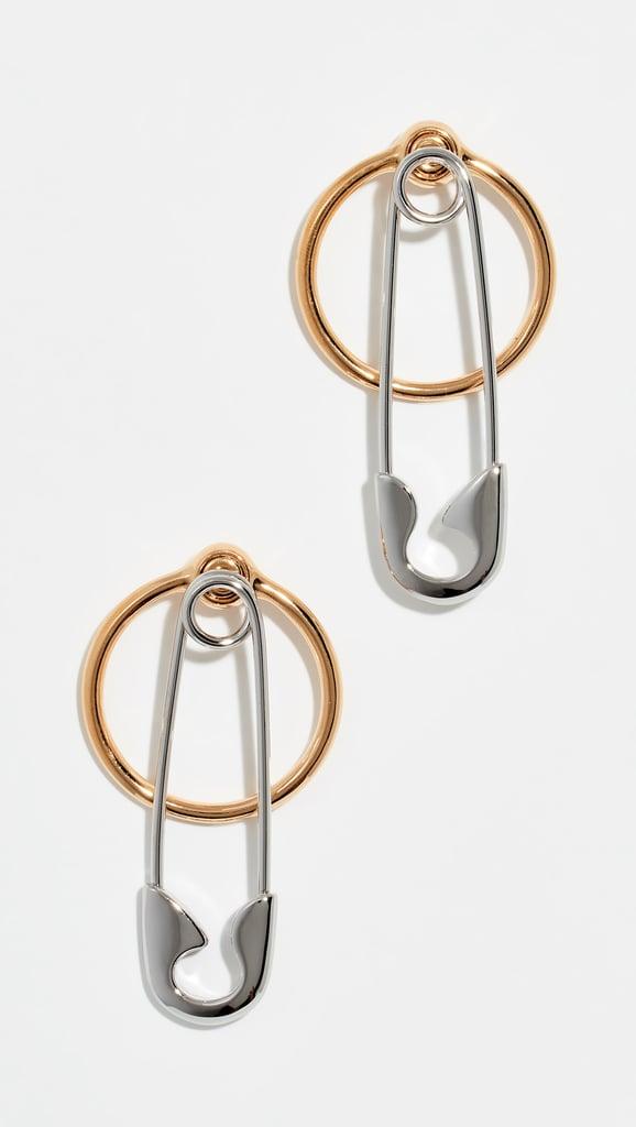 Alexander Wang Safety Pin + Hoop Earrings