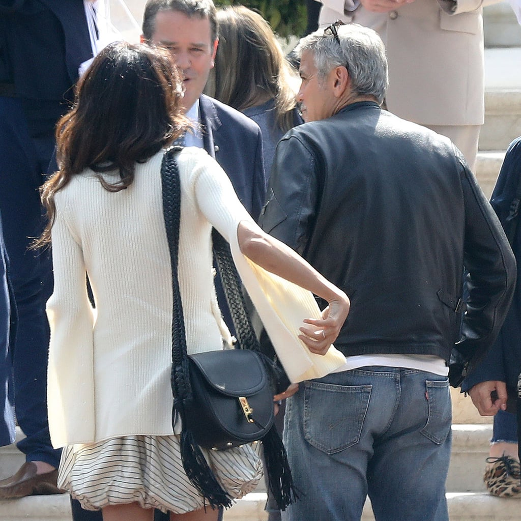 Amal Clooney Wearing a Bubble Skirt With George Clooney
