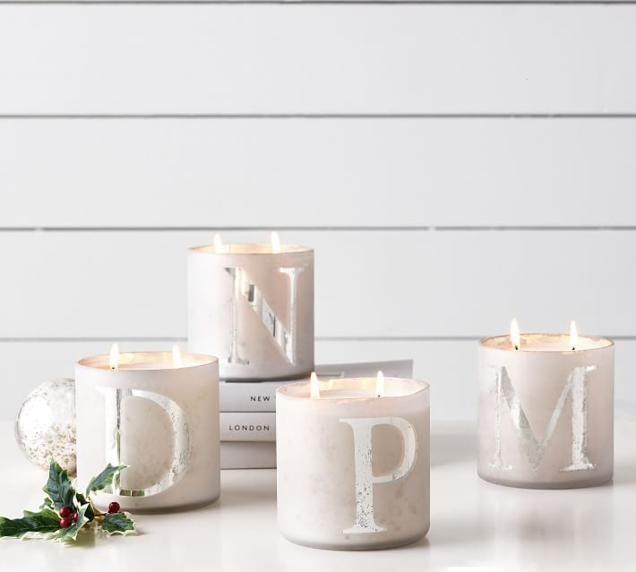 Alphabet Scented Candles in Frosted Pine