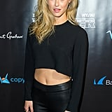 Bar Refaeli sported an all-black ensemble at the Leather and Laces party.
