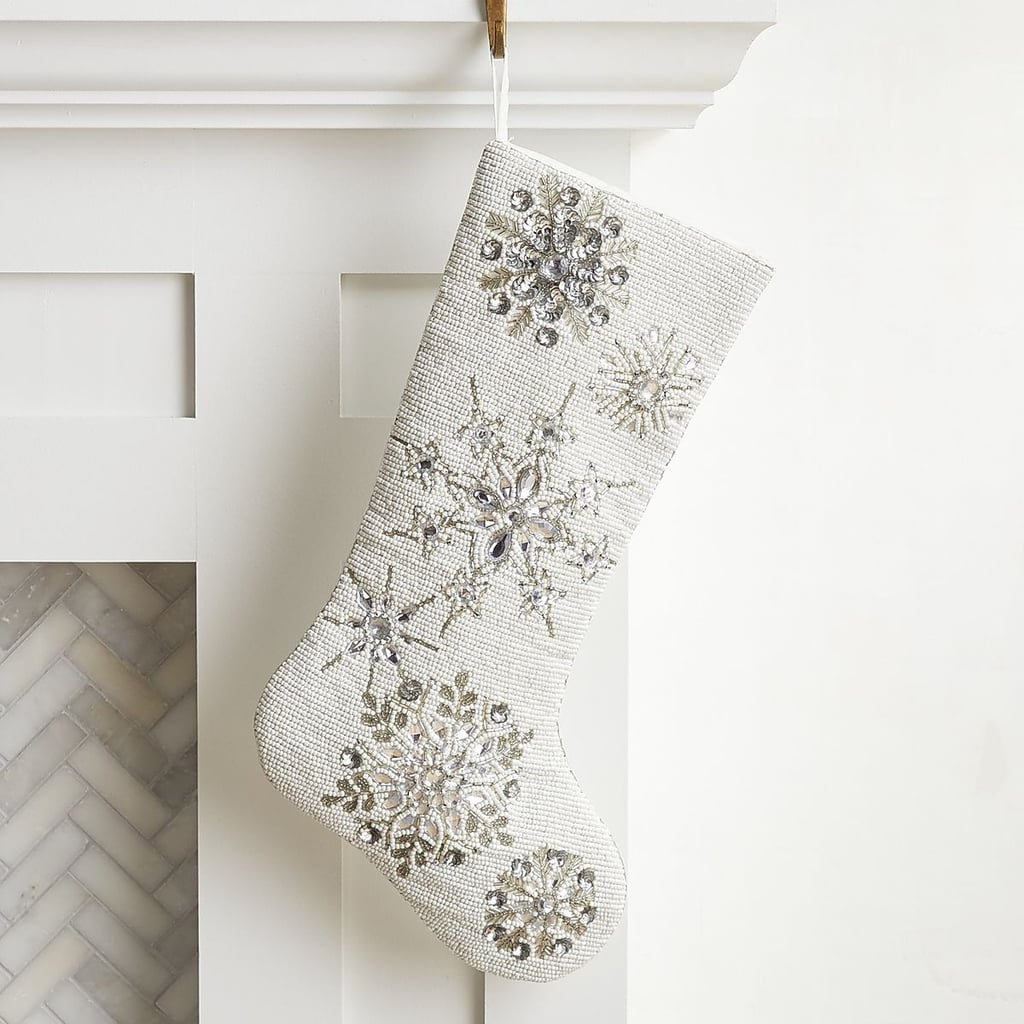 White Beaded Snowflake Stocking ($35)