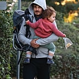 Orlando Bloom smiled while holding his son, Flynn Bloom.